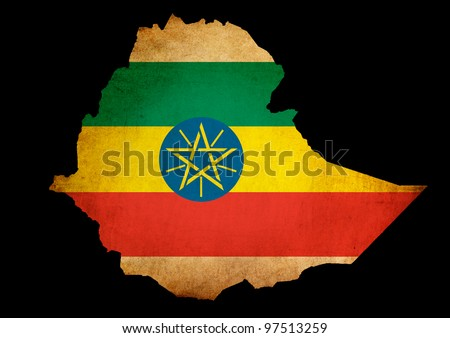 Outline map of Ethiopia with flag and grunge paper effect