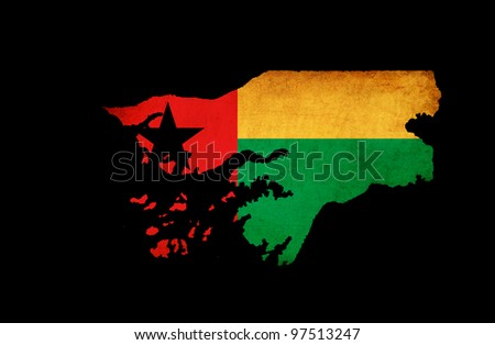 Outline map of Guinea Bissau with flag and grunge paper effect