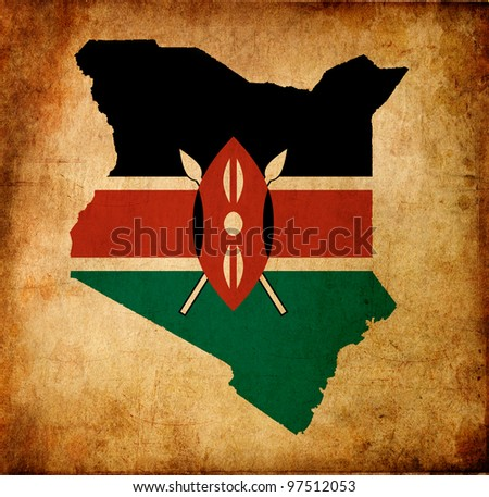 Outline map of Kenya with flag and grunge paper effect