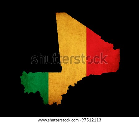 Outline map of Mali with flag and grunge paper effect
