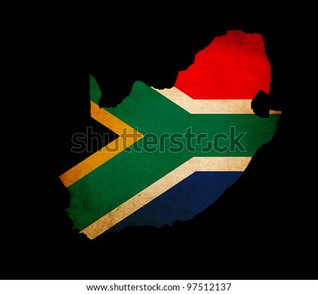 Outline map of South Africa with flag and grunge paper effect