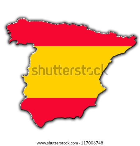 Outline map of Spain covered in Spanish flag
