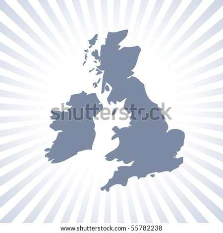 Outline map of UK and Eire over stripe pattern