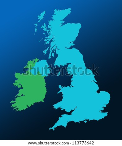 Outline map of UK and Ireland over graduated blue background