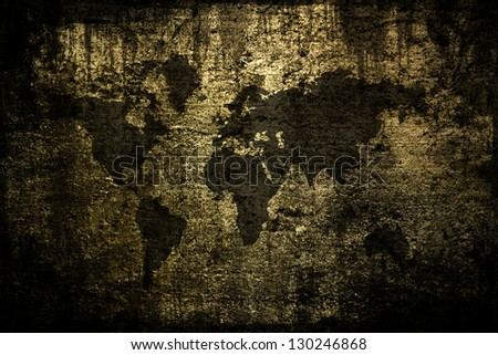 Outline map of world overlaid with grunge texture