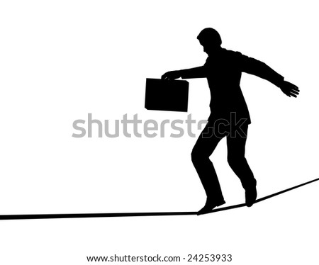 Outline of a businessman walking a tightrope (vector file also available)
