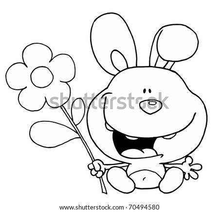 Outline Of A Happy Bunny Rabbit Sitting With A Daisy Flower