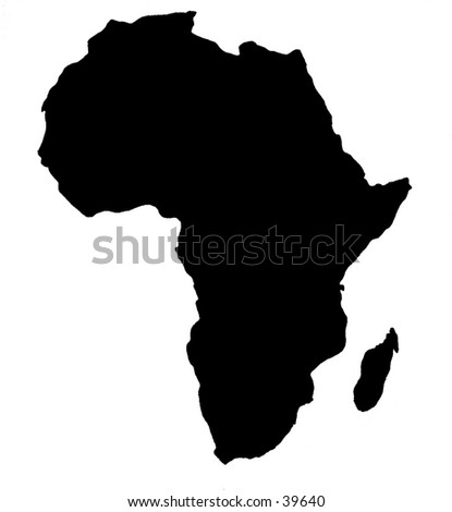 Outline of Africa. White background.