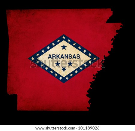 Outline of American USA Arkansas state with grunge effect flag insert
