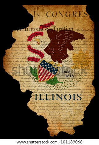 Outline of American USA Illinois state with grunge effect flag insert and overlay of Declaration of Independence document