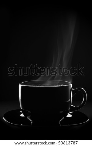 Outline of black cup of coffee with steam and saucer on black background.