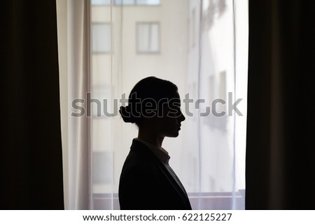 Outline of businesswoman profile against window