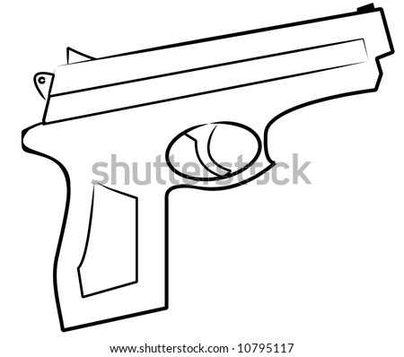 outline of hand gun isolated on white
