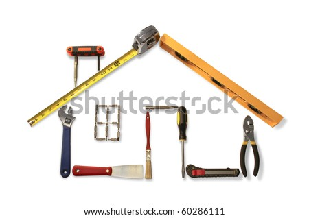 Outline of residential home made with common household and construction tools.