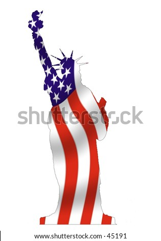 Outline of Statue of Liberty, filled with waving American flag.