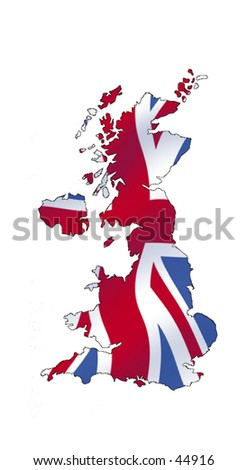 Outline of the United Kingdom, filled wit a waving union jack