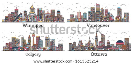 Outline Ottawa, Calgary, Vancouver and Winnipeg Canada City Skylines with Color Buildings Isolated on White. Cityscapes with Landmarks.