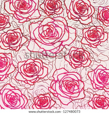 Outline rose background - stock photo