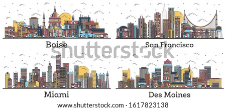 Outline San Francisco California, Miami Florida, Des Moines Iowa and Boise Idaho City Skylines with Color Buildings Isolated on White. USA Cityscapes with Landmarks.