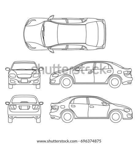 Outline sedan car drawing in different point of view. Scheme sedan auto, illustration of documentation project car sedan