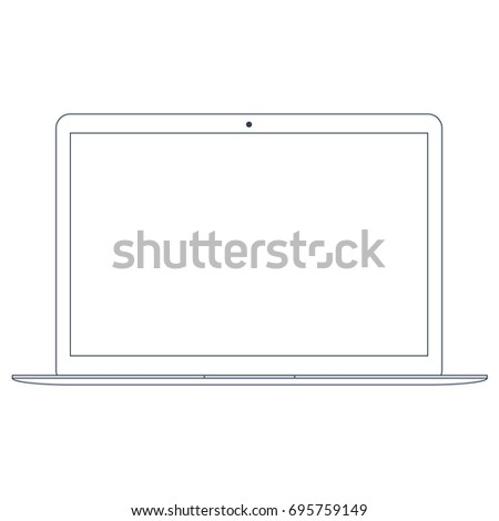 Outline simple icon modern laptop. Elegant thin line style design.