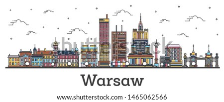 Outline Warsaw Poland City Skyline with Color Buildings Isolated on White. Warsaw Cityscape with Landmarks.