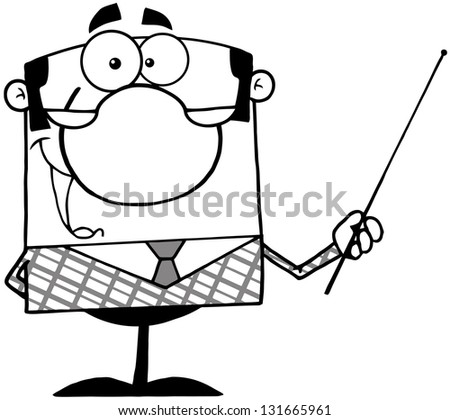 Outlined Business Manager Gesturing With A Pointer Stick. Raster Illustration.Vector Version Also Available In Portfolio.