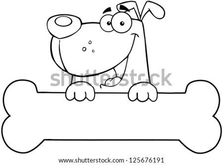 Outlined Cartoon Dog Over Bone Banner. Raster Illustration.Vector version also available in portfolio.