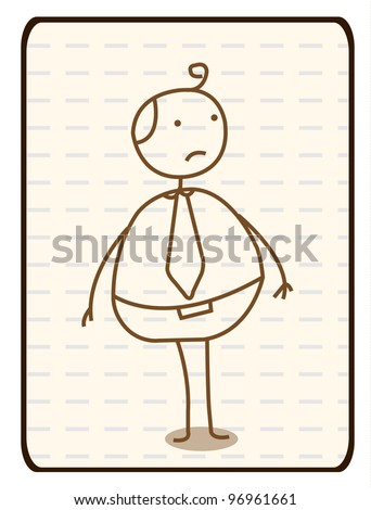 Outlined Doodle Cartoon vector Fat Man worker - stock photo
