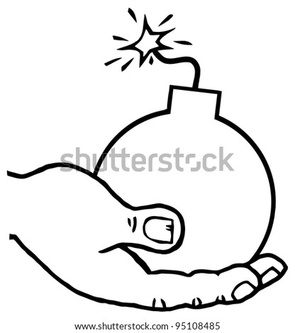 A Bomb Drawing Outlined Hand Holding A Bomb