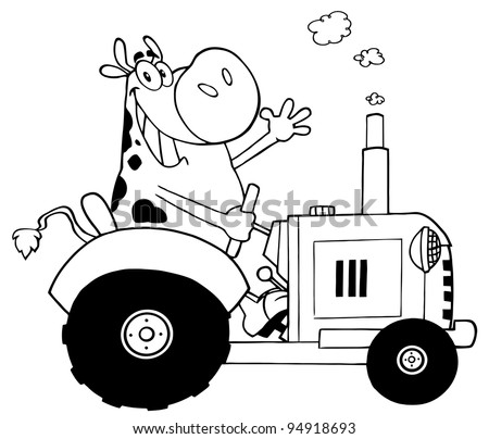 Outlined Happy Cow Farmer In Red Tractor Waving A Greeting
