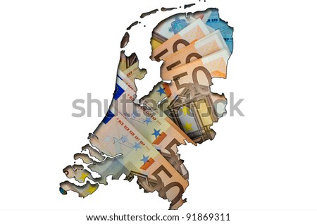Outlined map of Netherlands with background of euro banknotes