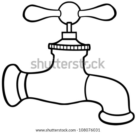 Outlined Water Faucet. Raster Illustration.Vector version also available in portfolio.
