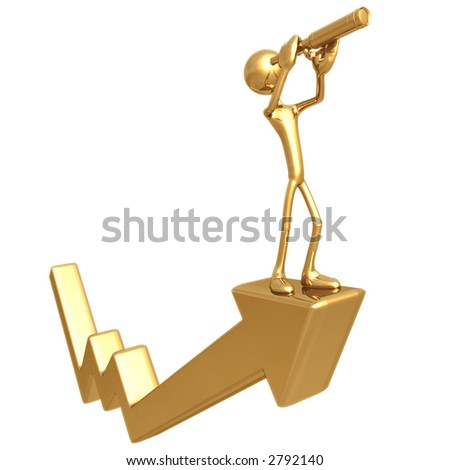 Outlook With A Telescope On Graph Arrow - stock photo