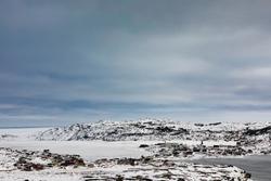 Outport fishing village of Fogo in barren winter landscape of Fogo Island, Newfoundland, NL, Canada