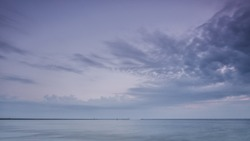 OUTPORT - Sunrise over the sea coast in Swinoujscie
