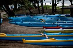 Outrigger canoes at Kailua Beach Park