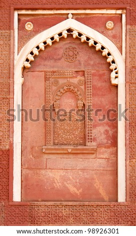 Outside Architecture of the Red Fort in Agra, India - stock photo