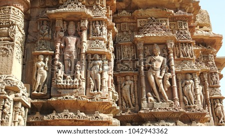 Outside intricate carvings of Gudhamandapa (the shrine hall) at Modhera Sun Temple complex is located at Mehsana district, Gujarat, India. It was built in 1026-27 AD by Chalaya dynasty.