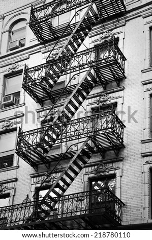 Outside Metal Fire Escape Stairs, New York City, USA #218780110