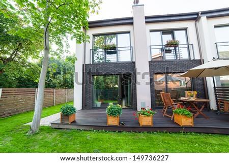 Outside of a modern house