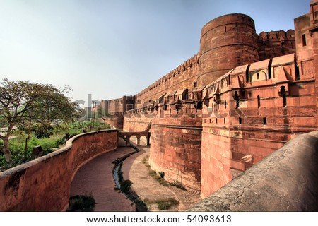 Outside of the Red Fort in Agra, India