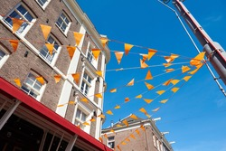 outside orange flags decoration at  Queen's or King's day