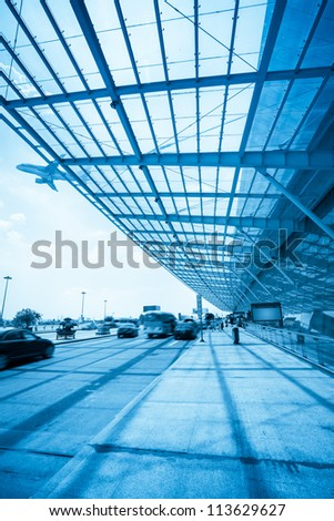 outside the airport terminal,flight departure and catch a plane passengers