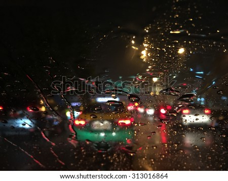 Outside the car in the rain night day