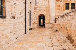 Outside the entrance of the Upper Room, Jerusalem