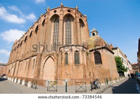 Outside the Jacobins cathedral in Toulouse, south France.