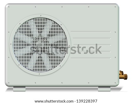 Outside unit of a split system air conditioner / Air conditioner - stock photo