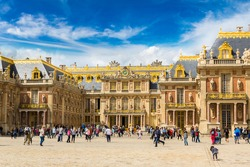 Outside view of Famous palace Versailles in a summer day