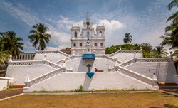 Outside view of the Church of Our Lady of the Immaculate Conception in Goa.